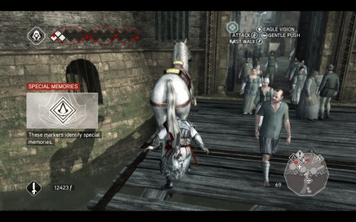 "Ezio jumps off his horse, a graphic glitch makes it look like his head is under the horse's tail. The random hint section reads ""Special Memories""."
