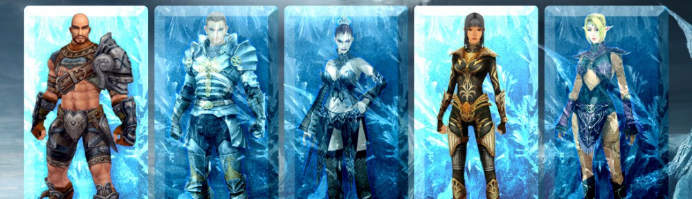 Screenshot of character classes in Last Chaos, showing one male in full armor, one male with exposed abs and legs. One female character wears a full light armor, two are scantily clad in typical Mage or Healer fashion..