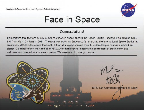 this is a certificate from NASA that my face was in space.