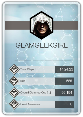 The default gameCard profile pic shows an Assassin; the hood is drawn into the face to obscure the gender.