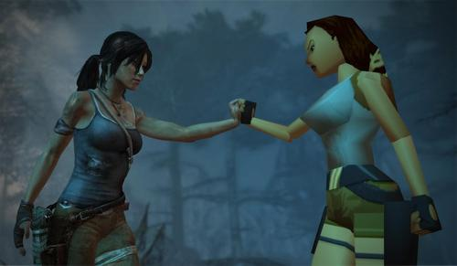 Lara Croft meets her former self